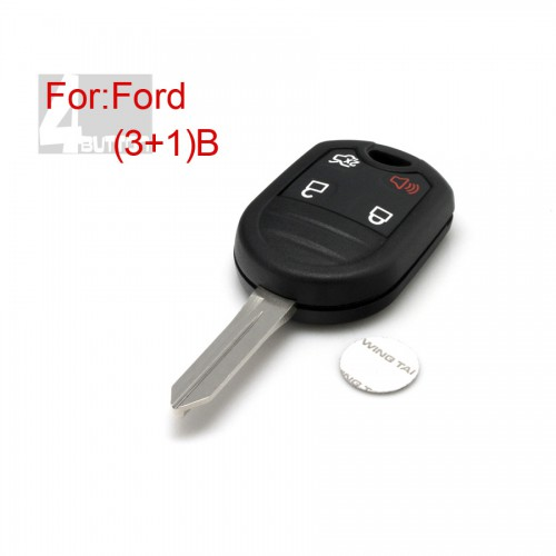 Remote key shell 3+1 button for Ford 10pcs/lot