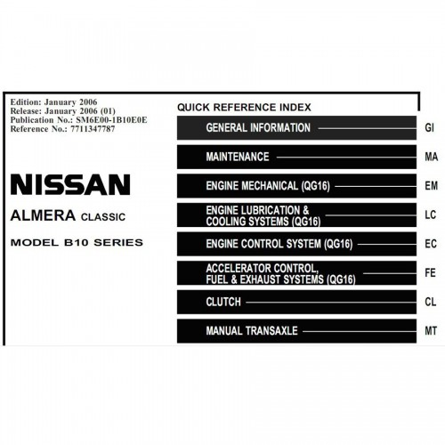 Electronic Service Repair Manual for Nissan