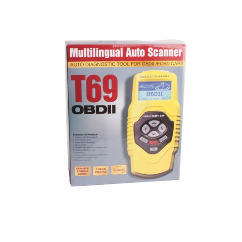 OBDII Auto Vehicle Scanner Diagnostic Tool T69 Multilingual Updatable