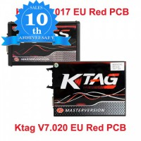 (10th Anni Sales)Red PCB EU Version V2.47 Kess V5.017 Plus V2.25 Ktag V7.020 with GPT Cable Online Version Full Protocols Activated