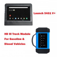 Launch X431 Pro3 V+ 10.1inch Tablet Global Version with Launch X431 HD3 Truck Diagnostic Adapter Work on both 12V & 24V Cars and Trucks