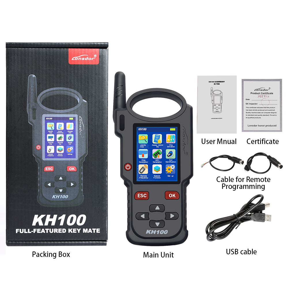 (10th Anni Sales)Lonsdor KH100 Remote Maker Key Programmer Generate  Chip/Simulate Chip/Identify Copy/Remote Frequency Update Online