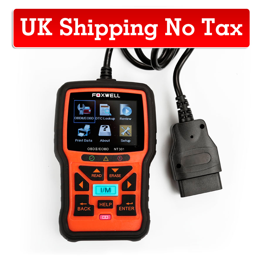 (UK Shipping No Tax)Foxwell NT301 CAN OBDII/EOBD Code Reader Support Multi-language Update Online for Free
