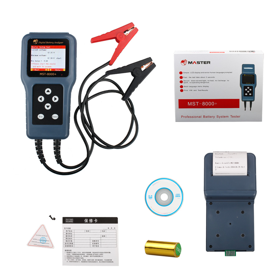 MST-8000+ Digital Battery Analyzer With Detachable Printer Professional Battery System Tester(Support for 12V Only)