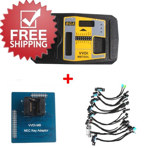 Xhorse V4.1.0 VVDI MB BGA TooL Benz Key Programmer Plus EIS/ELV Test Line and NEC Key Adaptor Free Shipping