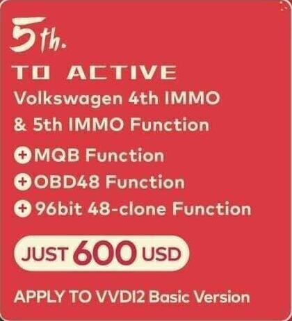 Xhorse VVDI2 VW 4th IMMO & 5th IMMO Function+ MQB Function+ OBD48 Function+ 96bit 48 Clone (For VVDI2 Basic Version)