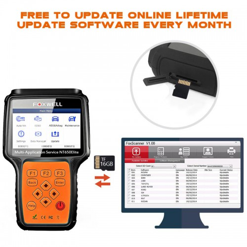 [UK Ship]Foxwell NT650 Elite Multi-Application ABS Airbag SAS EPB DPF Oil Service Reset Tool Better than NT650