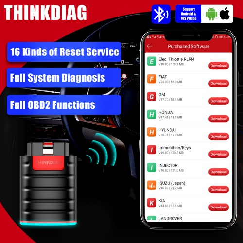 [EU/UK Ship] Thinkdiag Bidirectional OBDII Bluetooth Scanner for iPhone & Android with 16 Reset Services & 3 Free Software