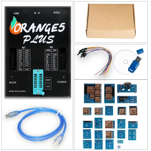 [6% Off €178]OEM Orange 5 Plus V1.35 Programmer Device Orange 5 With Full Adapter Enhanced Function Software Orange 5 plus with USB dongle