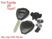 Remote Key Shell 2 Buttons TOY47 for Toyota Corolla Big Logo with Paper 10pcs/lot