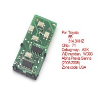 Smart Card Board 5 Buttons 314.3 MHZ Number 271451-0780-USA FOR Toyota
