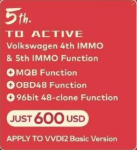 Xhorse VVDI2 VW 4th IMMO & 5th IMMO Function+ MQB Function+ OBD48 Function+ 96bit 48 Clone (For VVDI2 Basic Version)