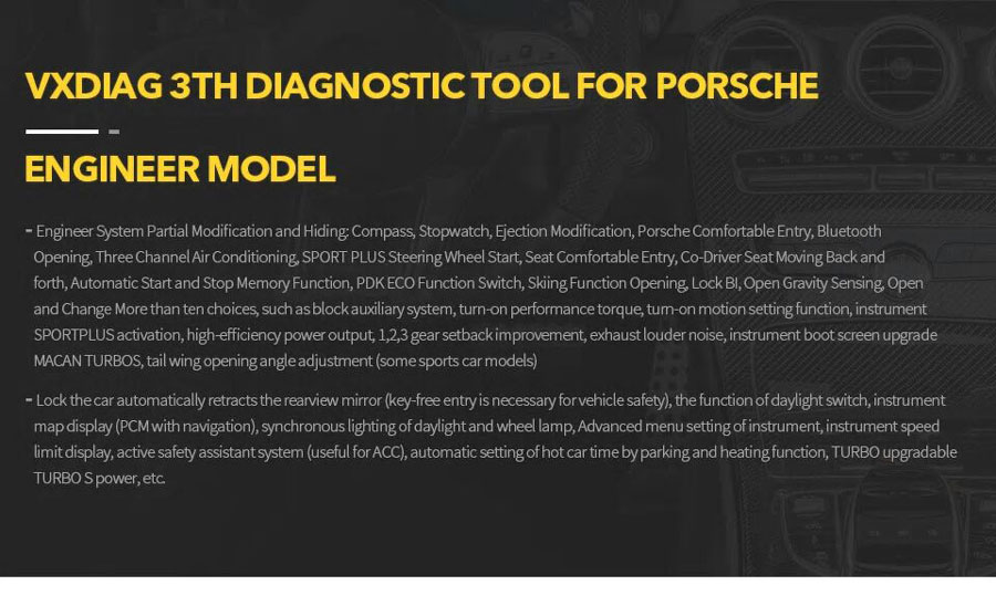 VXDIAG 3TH DIAGNOSTIC TOOL FOR PORSCHE ENGINE MODEL