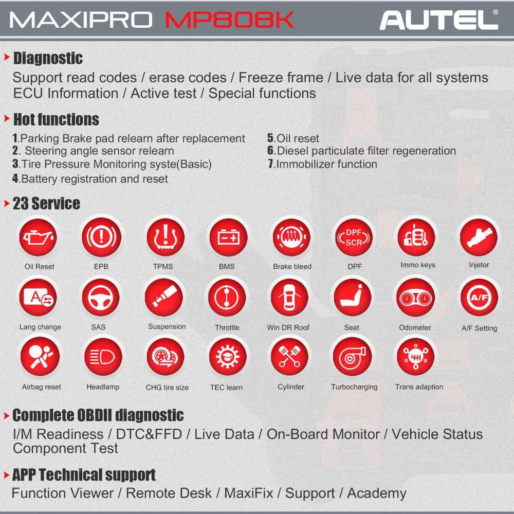 autel mp808k features