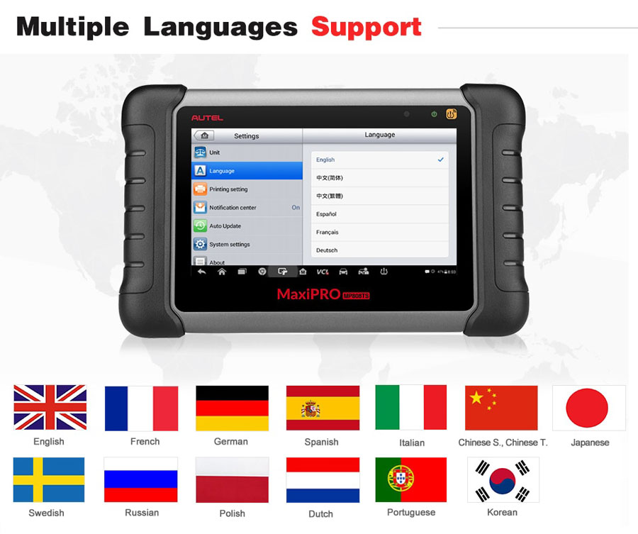autel mp808ts language
