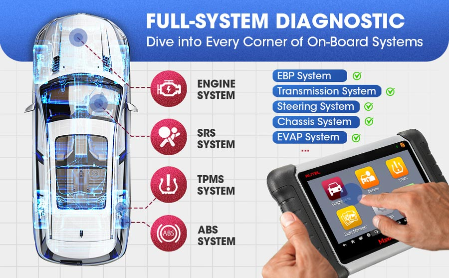 autel mk808ts full system diagnosis function