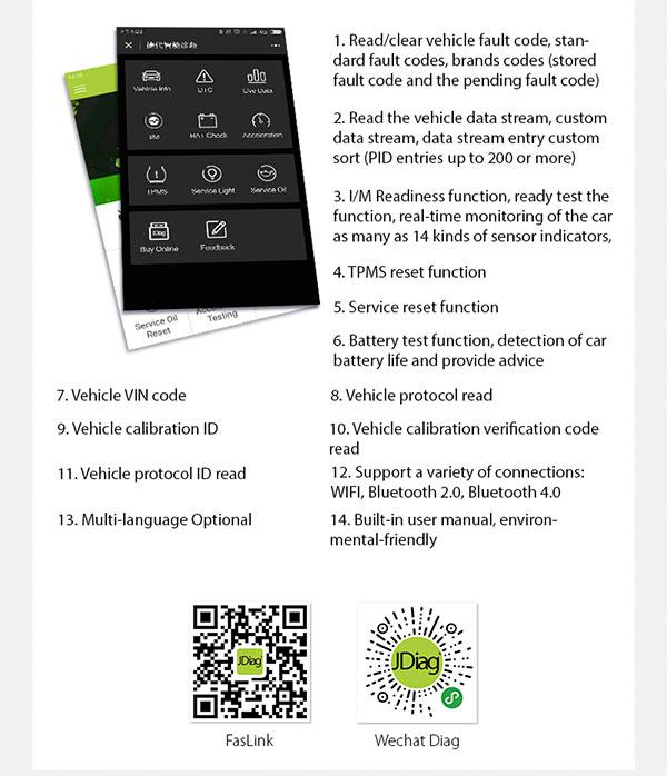 JDiag Faslink M1 Bluetooth V4.0 Smart OBDII Diagnostic Scanner via WeChat on Android iSO Windows Better than ELM327