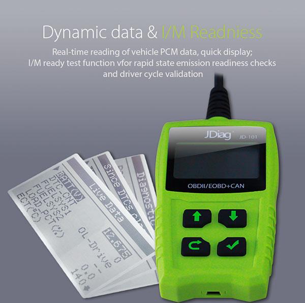 JDiag JD101 OBDII EOBD CAN Code Scanner Update Online Multi-language Available