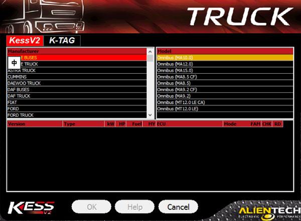 kess v5.017 truck list