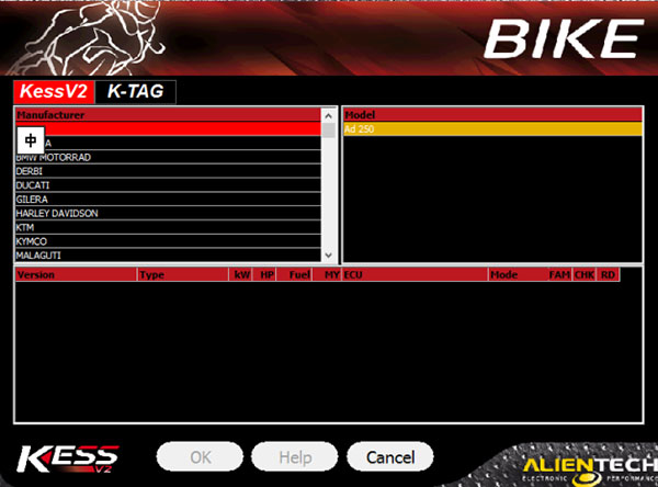 kess v5.017 bike list