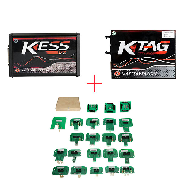 (UK Ship No Tax)Red PCB EU Version! V5.017 KESS  v2 V2.47 Plus V7.020 KTAG Plus BDM Probe Adapters Full Set with Free ECM TITANIUM V1.61