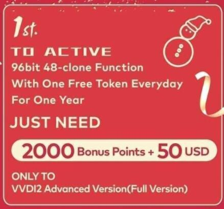 Xhorse VVDI Activate 96bit 48 Clone Function with One Free Token Everyday (For VVDI2 Full & VVDI Key Tool)