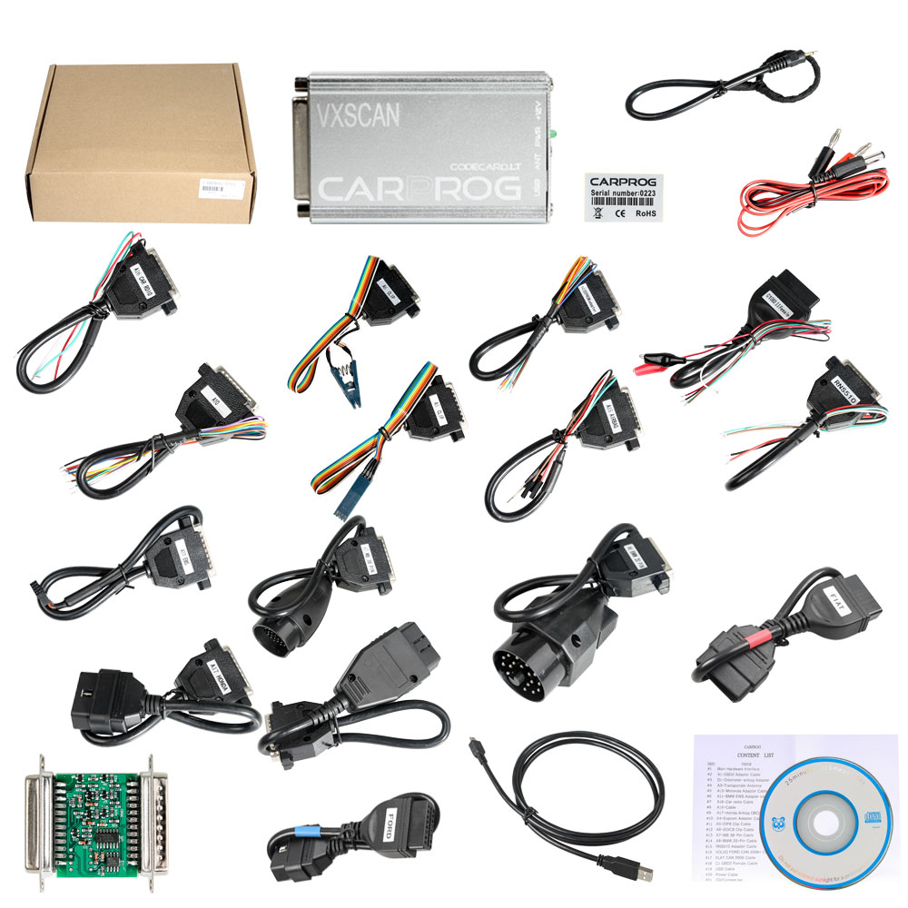 VXSCAN Carprog Full V10.93 ECU Programmer Good at Airbag Reset and Opel Pin Code Read(with All 21 Items Adapters)